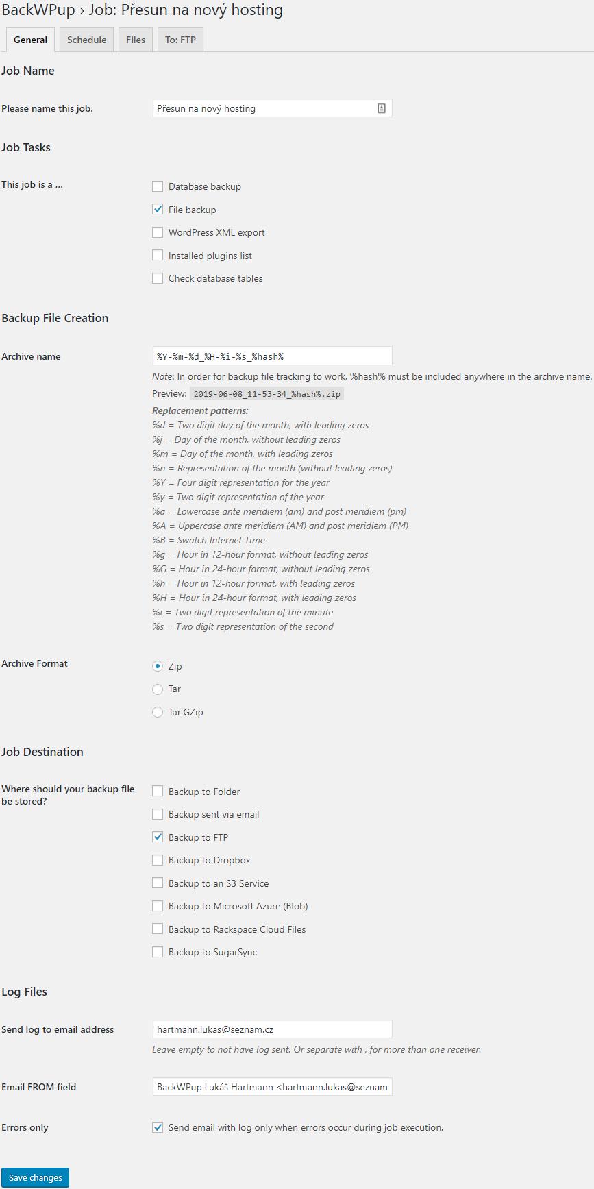 BackWPup nastavení - obecné
