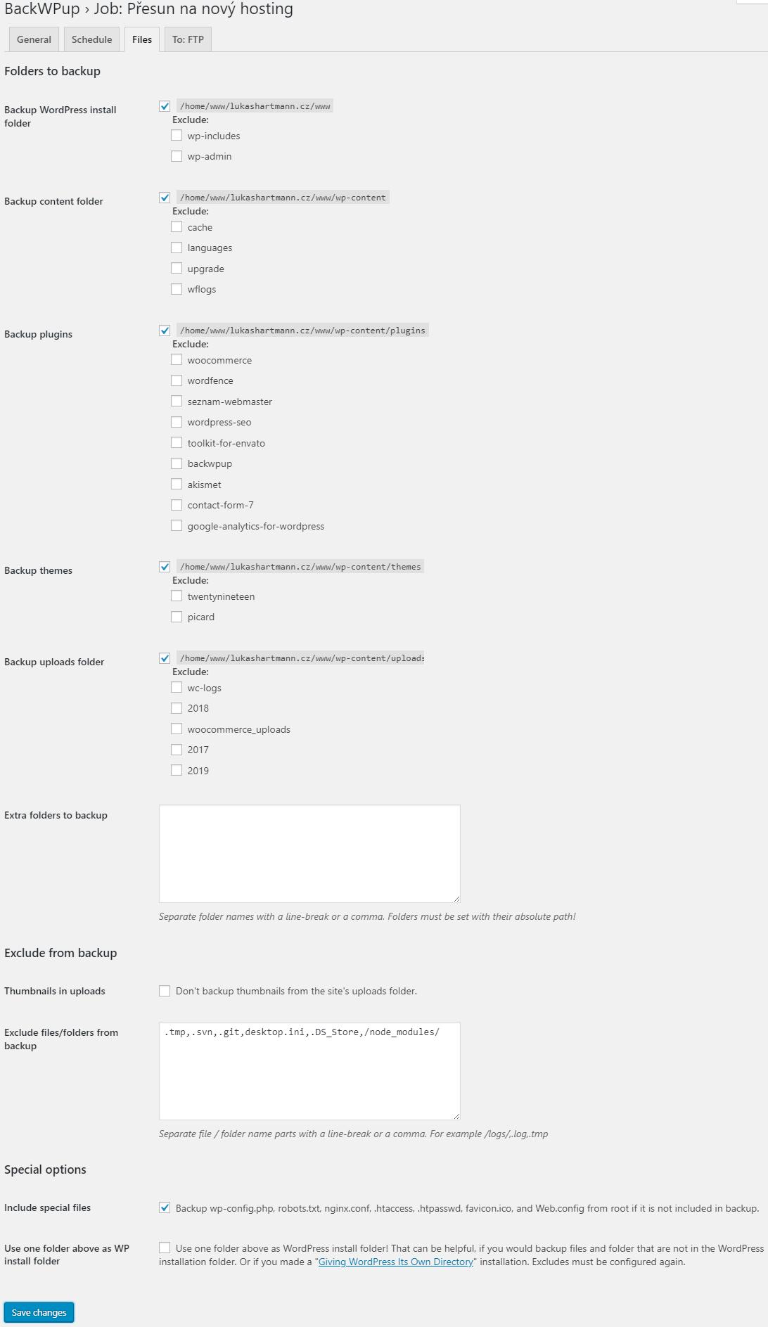 BackWPup nastavení - soubory