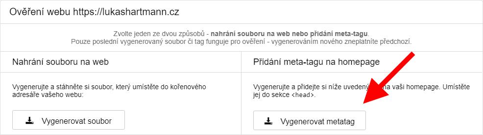 Seznam Webmaster - vygenerování meta-tagu