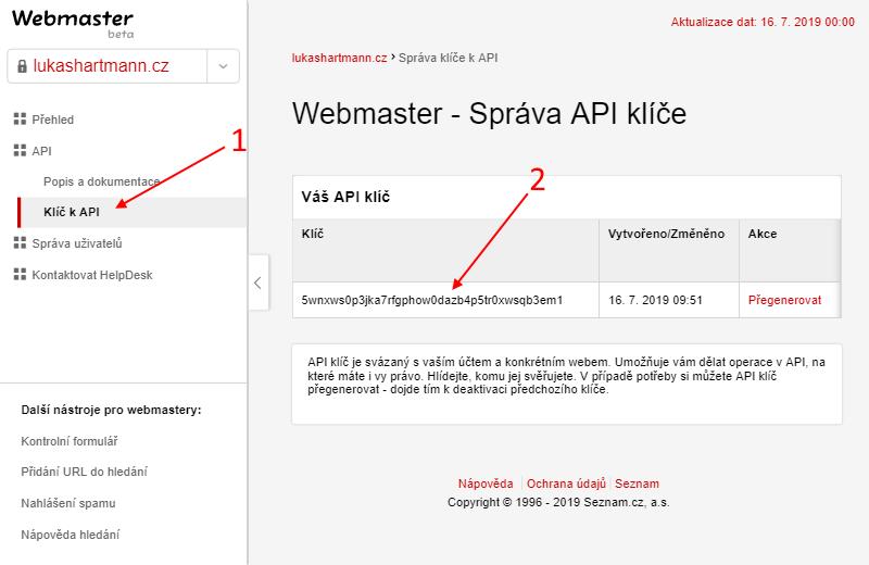 Seznam Webmaster - vygenerování API klíče