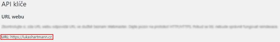 Seznam Webmaster - URL webu