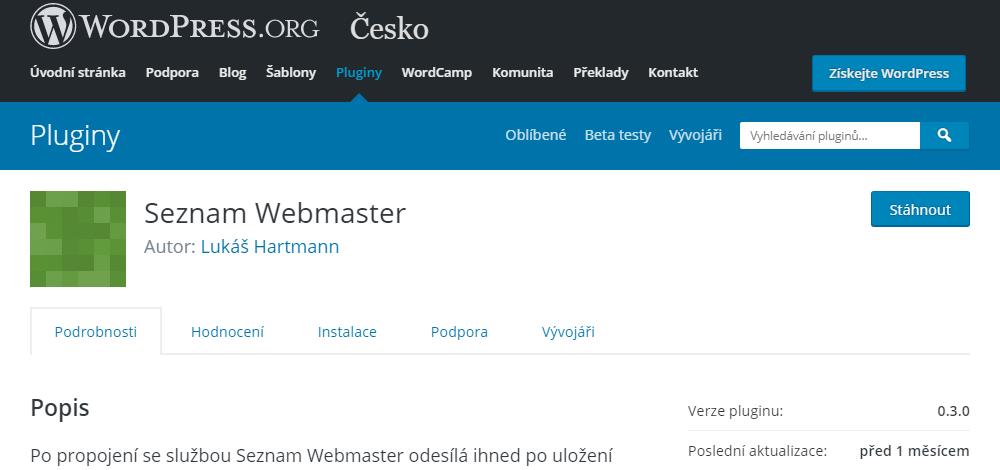 Seznam Webmaster - WordPress repozitář